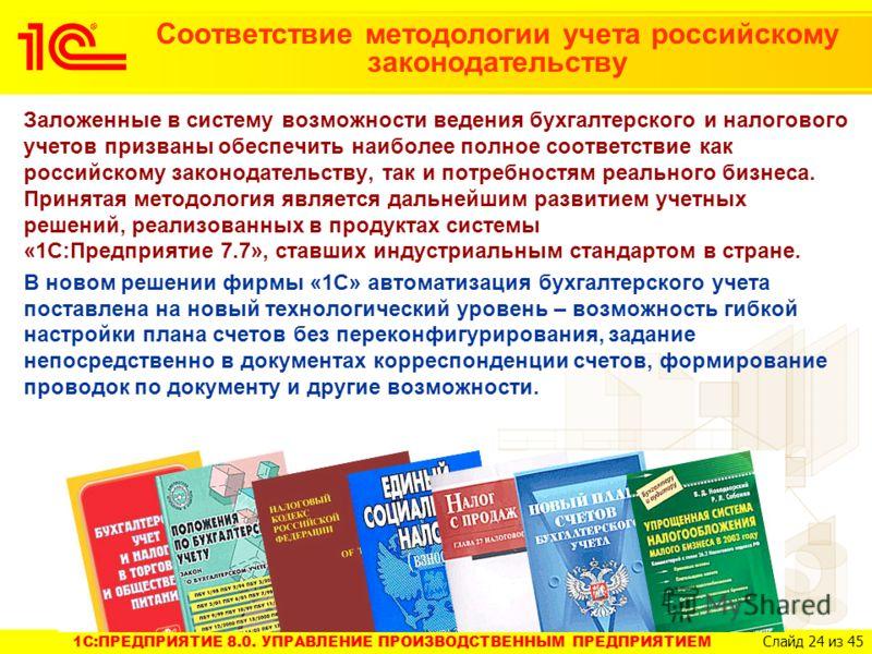 1C:ПРЕДПРИЯТИЕ 8.0. УПРАВЛЕНИЕ ПРОИЗВОДСТВЕННЫМ ПРЕДПРИЯТИЕМ Слайд 24 из 45 Соответствие методологии учета российскому законодательству Заложенные в систему возможности ведения бухгалтерского и налогового учетов призваны обеспечить наиболее полное со