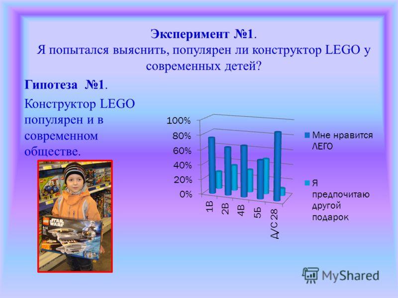 Эксперимент 1. Я попытался выяснить, популярен ли конструктор LEGO у современных детей? Гипотеза 1. Конструктор LEGO популярен и в современном обществе.
