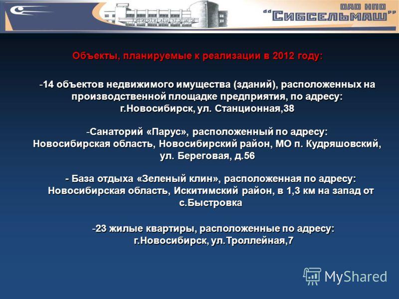 Объекты, планируемые к реализации в 2012 году: -14 объектов недвижимого имущества (зданий), расположенных на производственной площадке предприятия, по адресу: г.Новосибирск, ул. Станционная,38 -Санаторий «Парус», расположенный по адресу: Новосибирска