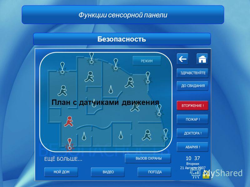 Функции сенсорной панели Безопасность План с датчиками движения