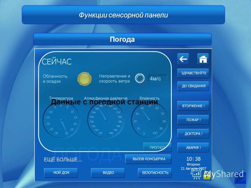 Функции сенсорной панели Погода Данные с погодной станции