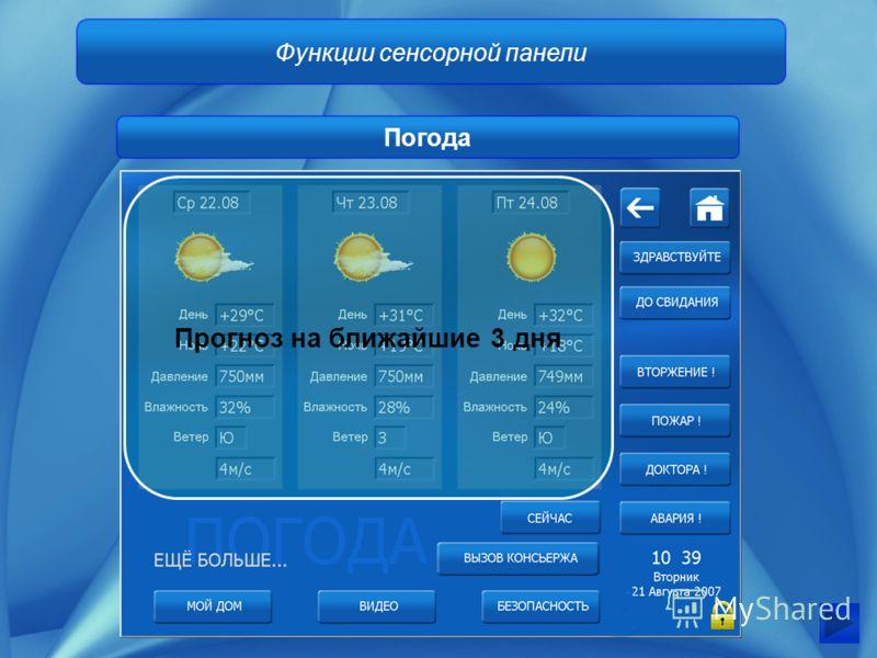 Функции сенсорной панели Погода Прогноз на ближайшие 3 дня
