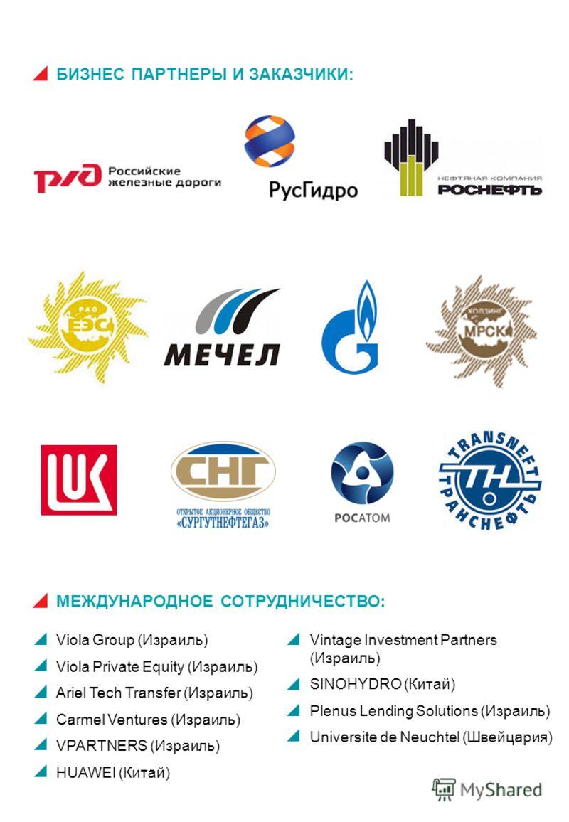 БИЗНЕС ПАРТНЕРЫ И ЗАКАЗЧИКИ: МЕЖДУНАРОДНОЕ СОТРУДНИЧЕСТВО: Viola Group (Израиль) Viola Private Equity (Израиль) Ariel Tech Transfer (Израиль) Carmel Ventures (Израиль) VPARTNERS (Израиль) HUAWEI (Китай) Vintage Investment Partners (Израиль) SINOHYDRO