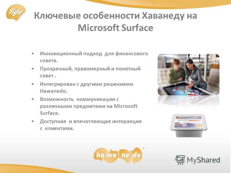 Ключевые особенности Хаванеду на Microsoft Surface Инновационный подход для финансового совета. Прозрачный, правомерный и понятный совет. Интегрирован с другими решениями Hawanedo. Возможность коммуникации с рaзличными предметами на Microsoft Surface