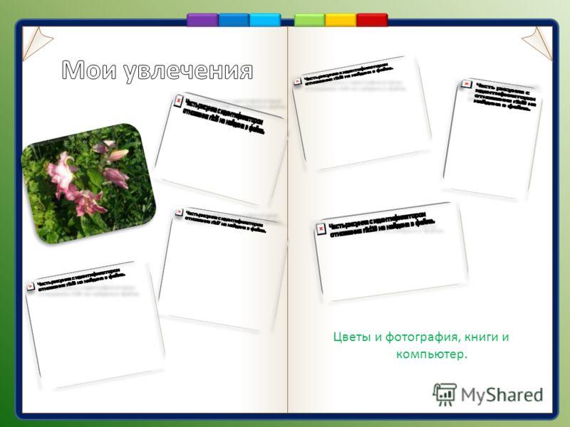 Цветы и фотография, книги и компьютер.