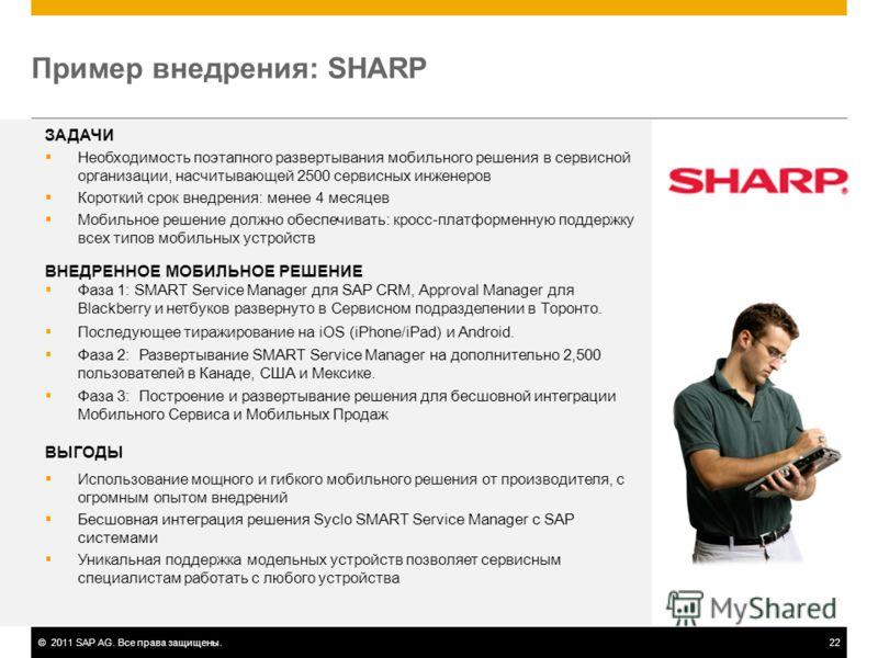 ©2011 SAP AG. Все права защищены.22 Пример внедрения: SHARP ЗАДАЧИ Необходимость поэтапного развертывания мобильного решения в сервисной организации, насчитывающей 2500 сервисных инженеров Короткий срок внедрения: менее 4 месяцев Мобильное решение до