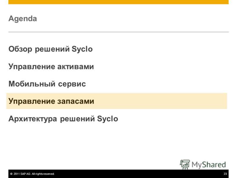 ©2011 SAP AG. All rights reserved.23 Agenda Обзор решений Syclo Управление активами Мобильный сервис Управление запасами Архитектура решений Syclo
