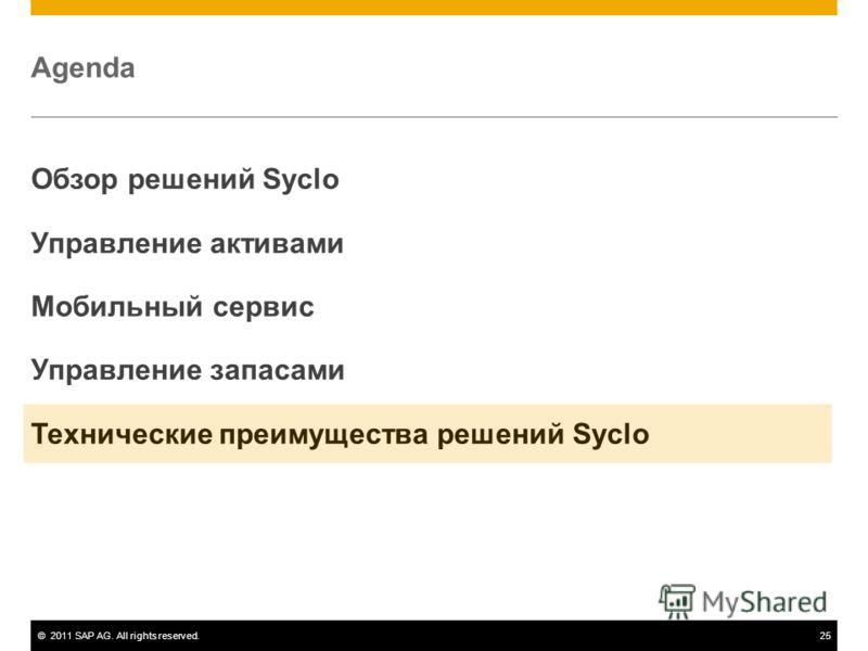©2011 SAP AG. All rights reserved.25 Agenda Обзор решений Syclo Управление активами Мобильный сервис Управление запасами Технические преимущества решений Syclo