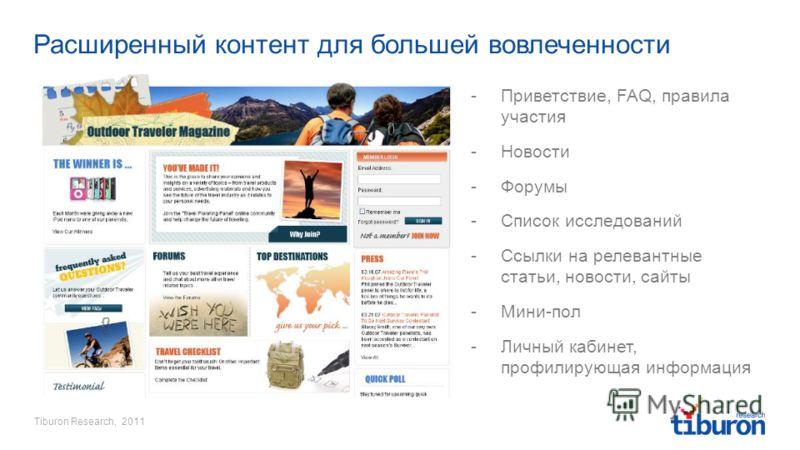 Tiburon Research, 2011 Расширенный контент для большей вовлеченности -Приветствие, FAQ, правила участия -Новости -Форумы -Список исследований -Ссылки на релевантные статьи, новости, сайты -Мини-пол -Личный кабинет, профилирующая информация
