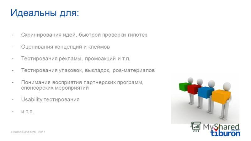 Tiburon Research, 2011 Идеальны для: -Скринирования идей, быстрой проверки гипотез -Оценивания концепций и клеймов -Тестирования рекламы, промоакций и т.п. -Тестирования упаковок, выкладок, pos-материалов -Понимания восприятия партнерских программ, с