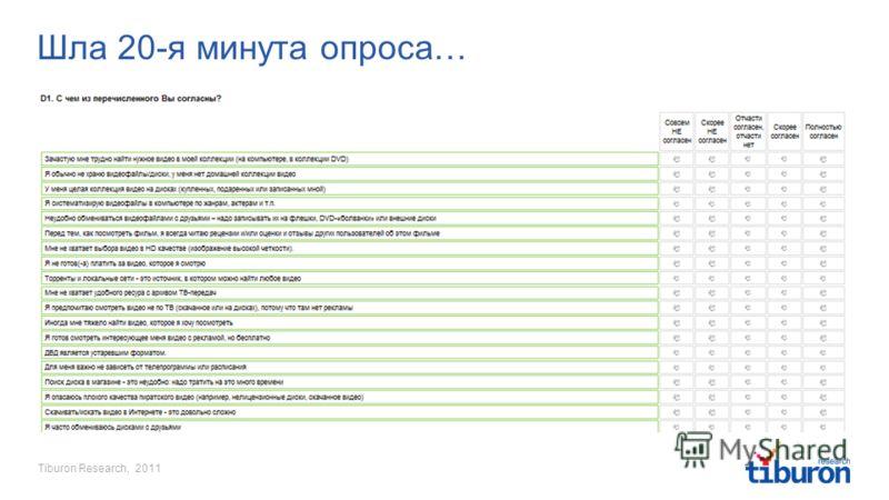 Tiburon Research, 2011 Шла 20-я минута опроса…