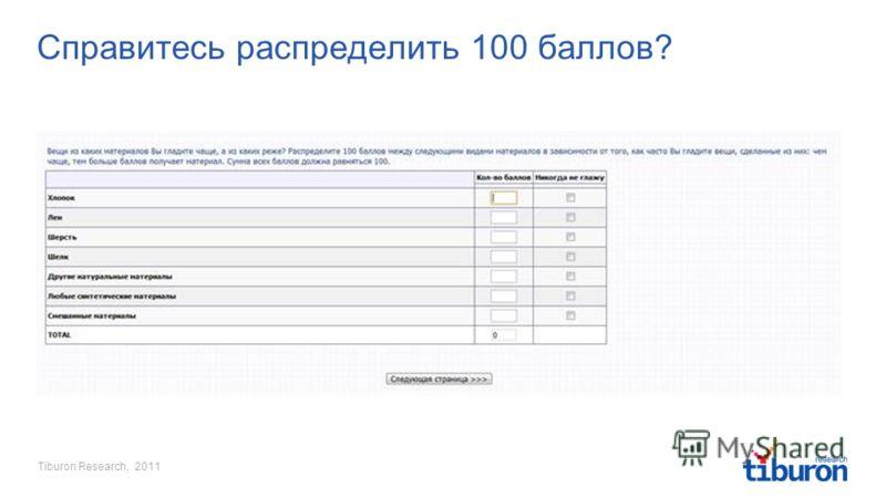 Tiburon Research, 2011 Справитесь распределить 100 баллов?