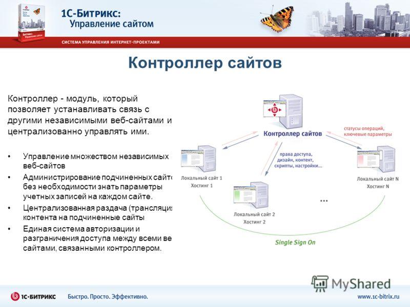 Контроллер сайтов Контроллер - модуль, который позволяет устанавливать связь с другими независимыми веб-сайтами и централизованно управлять ими. Управление множеством независимых веб-сайтов Администрирование подчиненных сайтов без необходимости знать