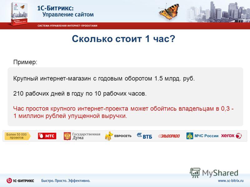 Сколько стоит 1 час? Крупный интернет-магазин с годовым оборотом 1.5 млрд. руб. 210 рабочих дней в году по 10 рабочих часов. Час простоя крупного интернет-проекта может обойтись владельцам в 0,3 - 1 миллион рублей упущенной выручки. Пример: