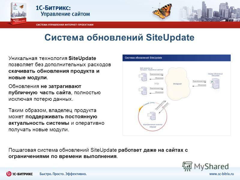 Система обновлений SiteUpdate Пошаговая система обновлений SiteUpdate работает даже на сайтах с ограничениями по времени выполнения. Уникальная технология SiteUpdate позволяет без дополнительных расходов скачивать обновления продукта и новые модули.