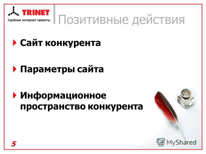 Позитивные действия Сайт конкурента Параметры сайта Информационное пространство конкурента 5