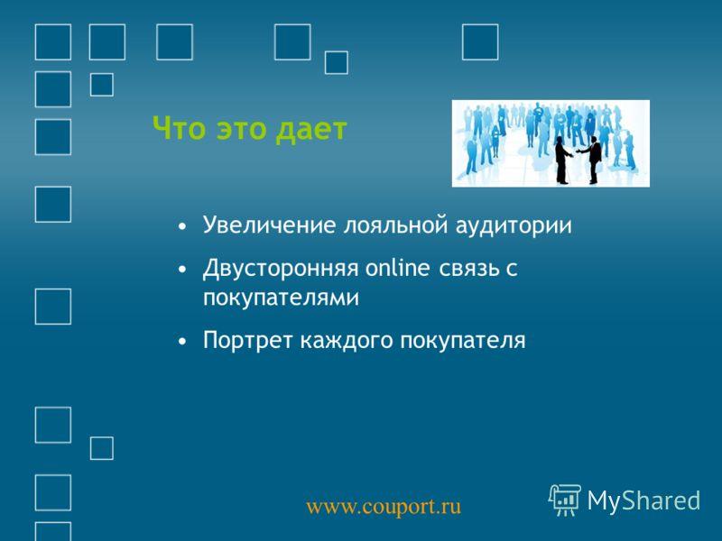 Что это дает Увеличение лояльной аудитории Двусторонняя online связь с покупателями Портрет каждого покупателя www.couport.ru