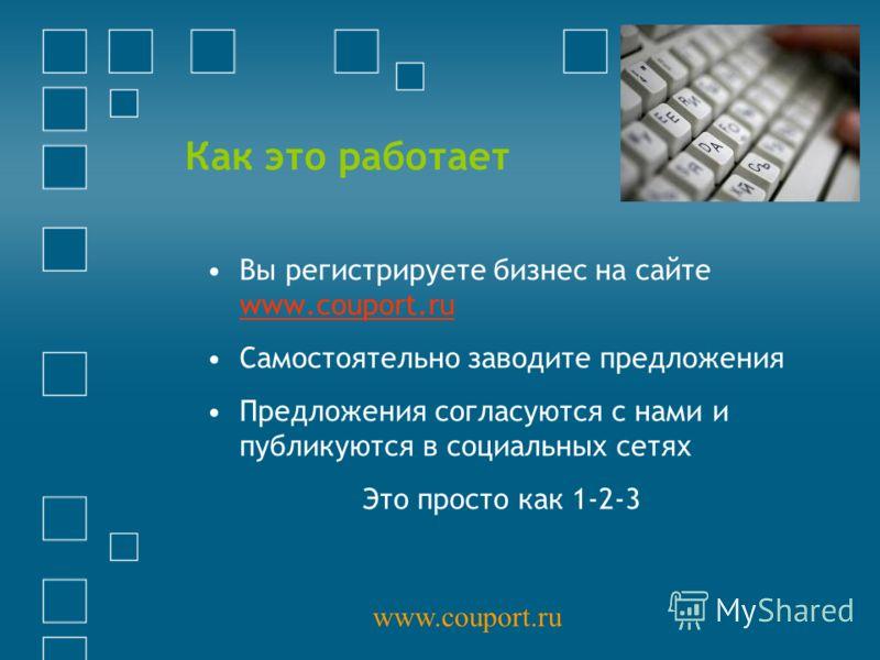 Как это работает Вы регистрируете бизнес на сайте www.couport.ru www.couport.ru Самостоятельно заводите предложения Предложения согласуются с нами и публикуются в социальных сетях Это просто как 1-2-3 www.couport.ru