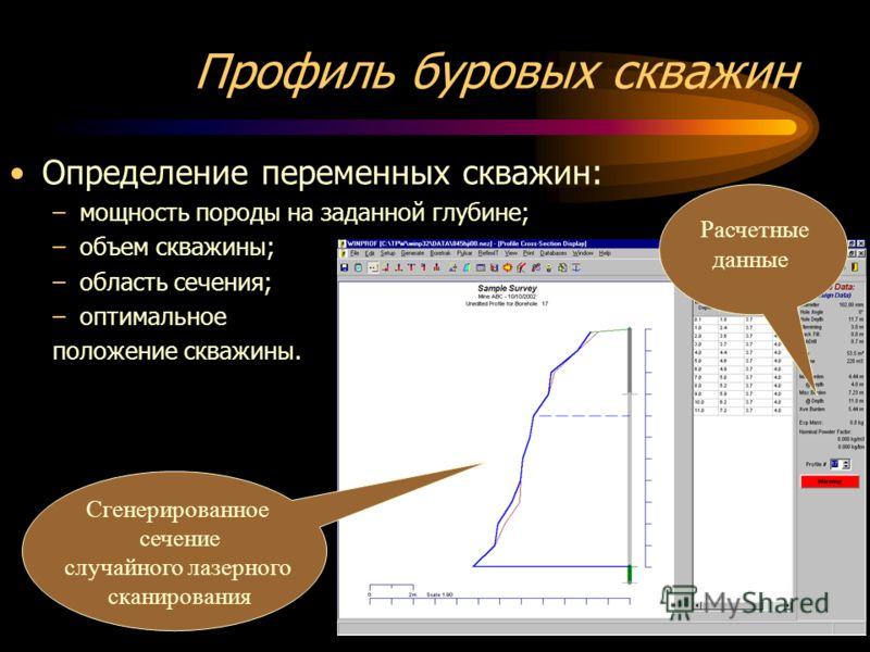 Профиль буровых скважин Определение переменных скважин: –мощность породы на заданной глубине; –объем скважины; –область сечения; –оптимальное положение скважины. Расчетные данные Сгенерированное сечение случайного лазерного сканирования