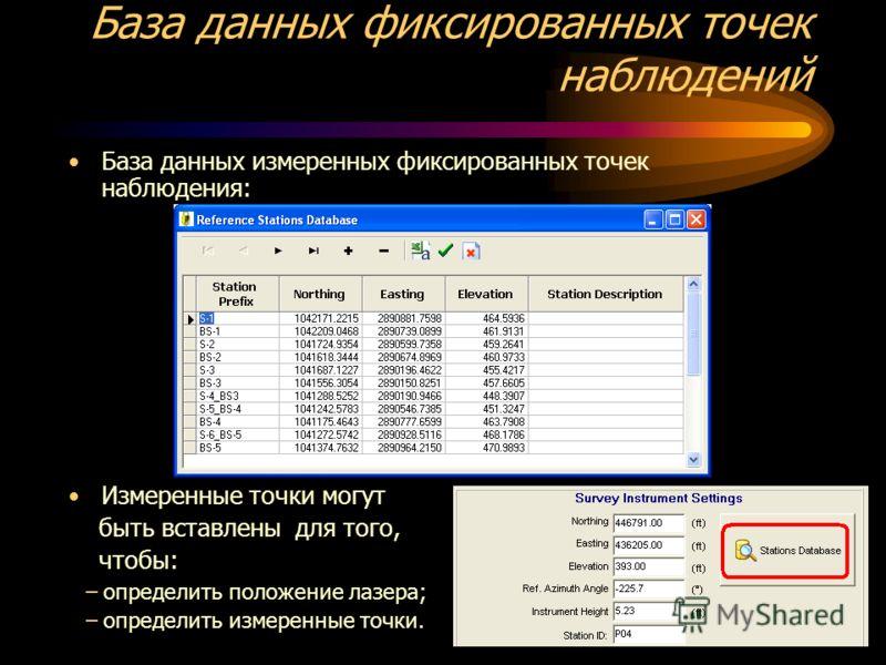 База данных фиксированных точек наблюдений База данных измеренных фиксированных точек наблюдения: Измеренные точки могут быть вставлены для того, чтобы: –определить положение лазера; –определить измеренные точки.