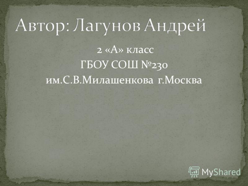 2 «А» класс ГБОУ СОШ 230 им.С.В.Милашенкова г.Москва