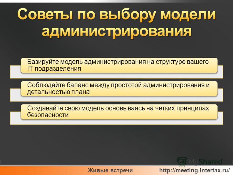 Живые встречи http://meeting.intertax.ru/ Базируйте модель администрирования на структуре вашего IT подразделения Соблюдайте баланс между простотой администрирования и детальностью плана Создавайте свою модель основываясь на четких принципах безопасн