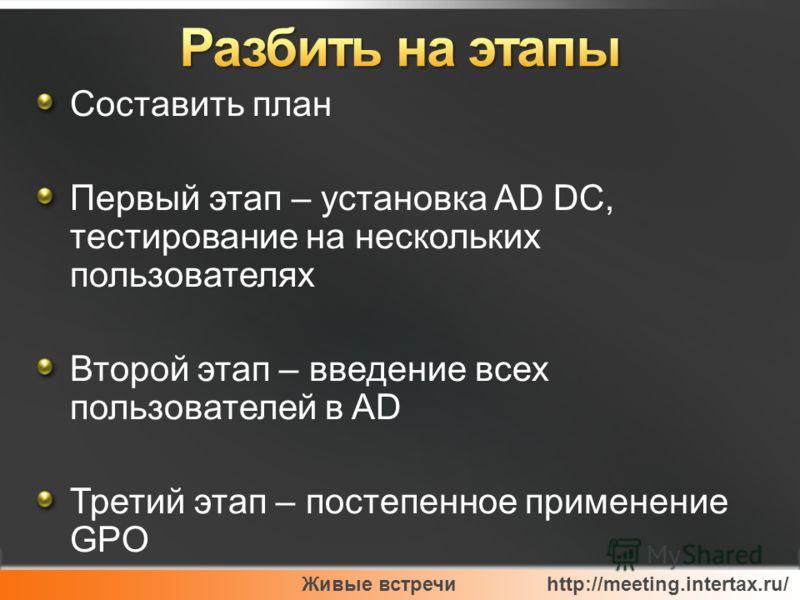 Живые встречи http://meeting.intertax.ru/ Составить план Первый этап – установка AD DC, тестирование на нескольких пользователях Второй этап – введение всех пользователей в AD Третий этап – постепенное применение GPO