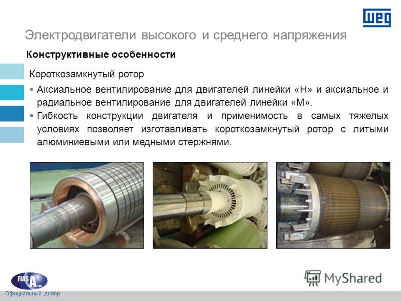 Короткозамкнутый ротор Аксиальное вентилирование для двигателей линейки «H» и аксиальное и радиальное вентилирование для двигателей линейки «M». Гибкость конструкции двигателя и применимость в самых тяжелых условиях позволяет изготавливать короткозам
