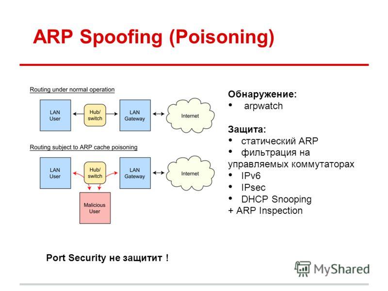 ARP Spoofing (Poisoning) Обнаружение: arpwatch Защита: cтатический ARP фильтрация на управляемых коммутаторах IPv6 IPsec DHCP Snooping + ARP Inspection Port Security не защитит !