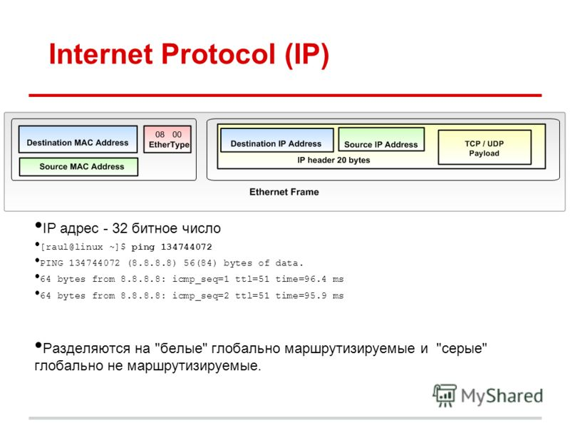 Internet Protocol (IP) IP адрес - 32 битное число [raul@linux ~]$ ping 134744072 PING 134744072 (8.8.8.8) 56(84) bytes of data. 64 bytes from 8.8.8.8: icmp_seq=1 ttl=51 time=96.4 ms 64 bytes from 8.8.8.8: icmp_seq=2 ttl=51 time=95.9 ms Разделяются на