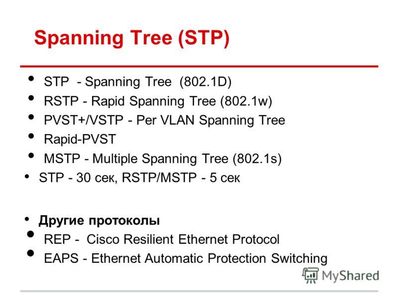 Spanning Tree (STP) STP - Spanning Tree (802.1D) RSTP - Rapid Spanning Tree (802.1w) PVST+/VSTP - Per VLAN Spanning Tree Rapid-PVST MSTP - Multiple Spanning Tree (802.1s) STP - 30 сек, RSTP/MSTP - 5 сек Другие протоколы REP - Cisco Resilient Ethernet