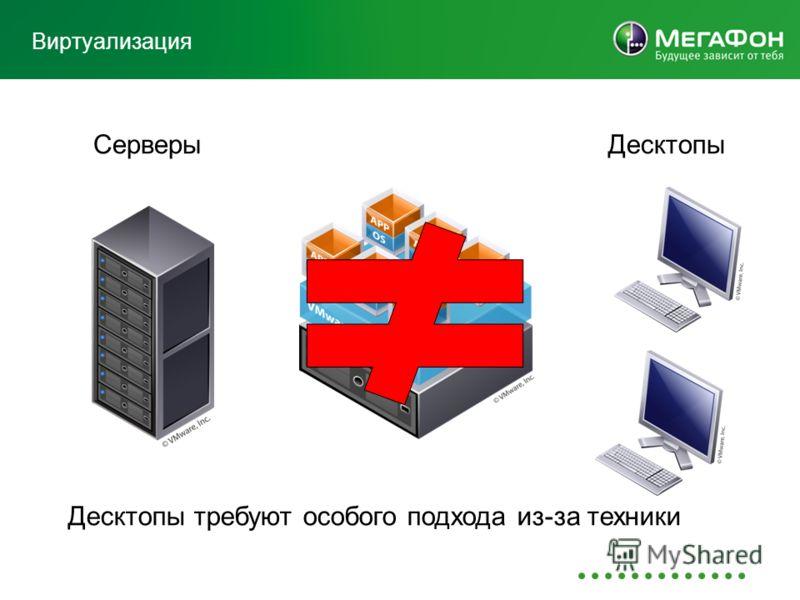 Виртуализация СерверыДесктопы Десктопы требуют особого подхода из-за техники