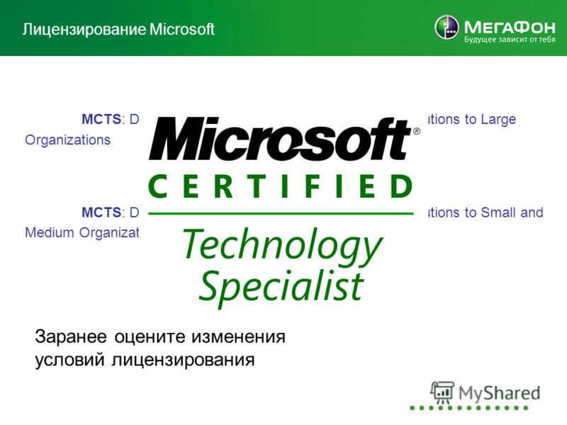 Лицензирование Microsoft MCTS: Designing and Providing Volume Licensing Solutions to Large Organizations MCTS: Designing and Providing Volume Licensing Solutions to Small and Medium Organizations Заранее оцените изменения условий лицензирования