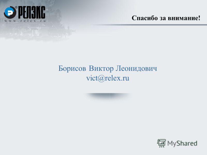 Спасибо за внимание! Борисов Виктор Леонидович vict@relex.ru