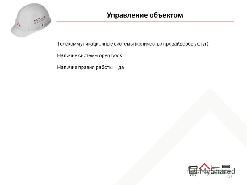 12 Управление объектом Телекоммуникационные системы (количество провайдеров услуг) Наличие системы open book Наличие правил работы - да