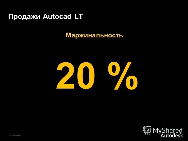 © 2009 Autodesk Продажи Autocad LT 20 % Маржинальность