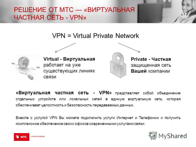 РЕШЕНИЕ ОТ МТС «ВИРТУАЛЬНАЯ ЧАСТНАЯ СЕТЬ - VPN» 4 VPN = Virtual Private Network Virtual - Виртуальная работает на уже существующих линиях связи Private - Частная защищенная сеть Вашей компании «Виртуальная частная сеть - VPN» представляет собой объед