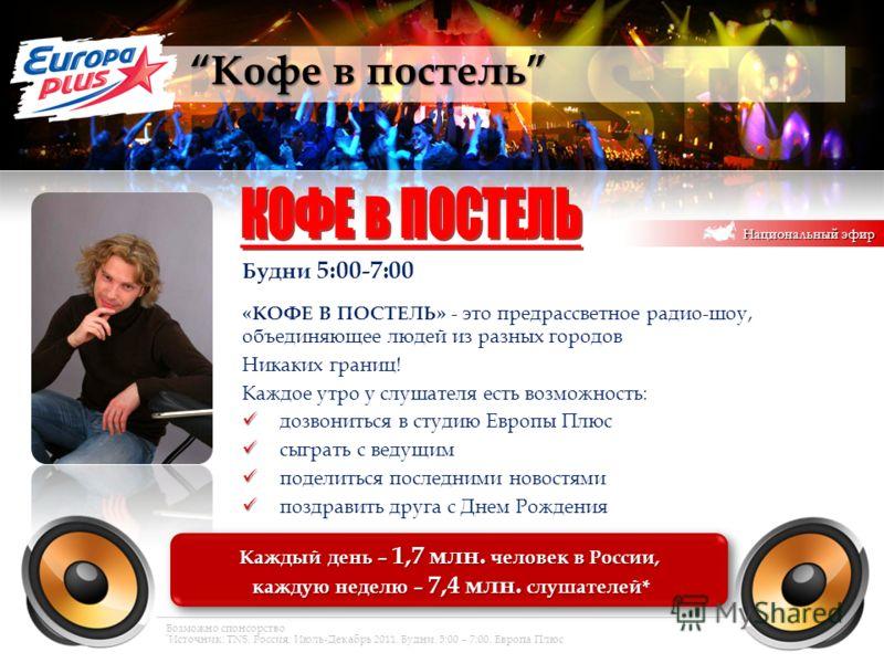 Кофе в постель Кофе в постель Каждый день – 1,7 млн. человек в России, каждую неделю – 7,4 млн. слушателей* каждую неделю – 7,4 млн. слушателей* Каждый день – 1,7 млн. человек в России, каждую неделю – 7,4 млн. слушателей* каждую неделю – 7,4 млн. сл