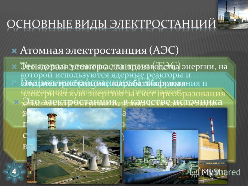 Атомная электростанция (АЭС) Тепловая электростанция (ТЭС) Гидроэлектростанция (ГЭС) Это ядерная установка для производства энергии, на которой используются ядерные реакторы и комплекс необходимых систем, оборудования и сооружений с необходимым персо