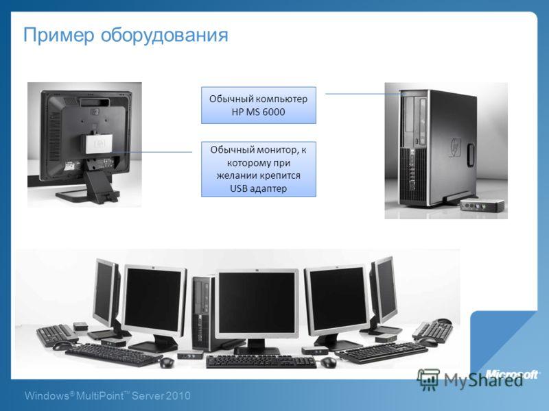 Windows ® MultiPoint Server 2010 Пример оборудования Обычный компьютер HP MS 6000 Обычный монитор, к которому при желании крепится USB адаптер