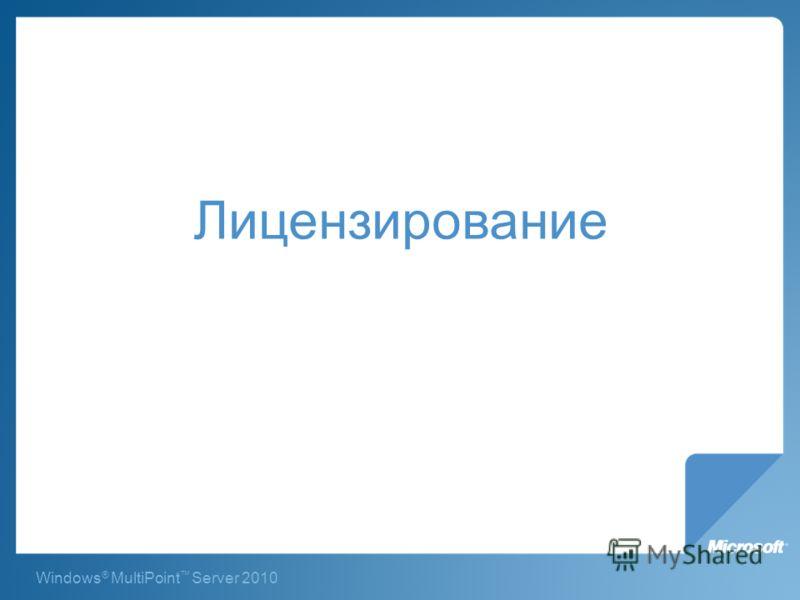 Windows ® MultiPoint Server 2010 Лицензирование
