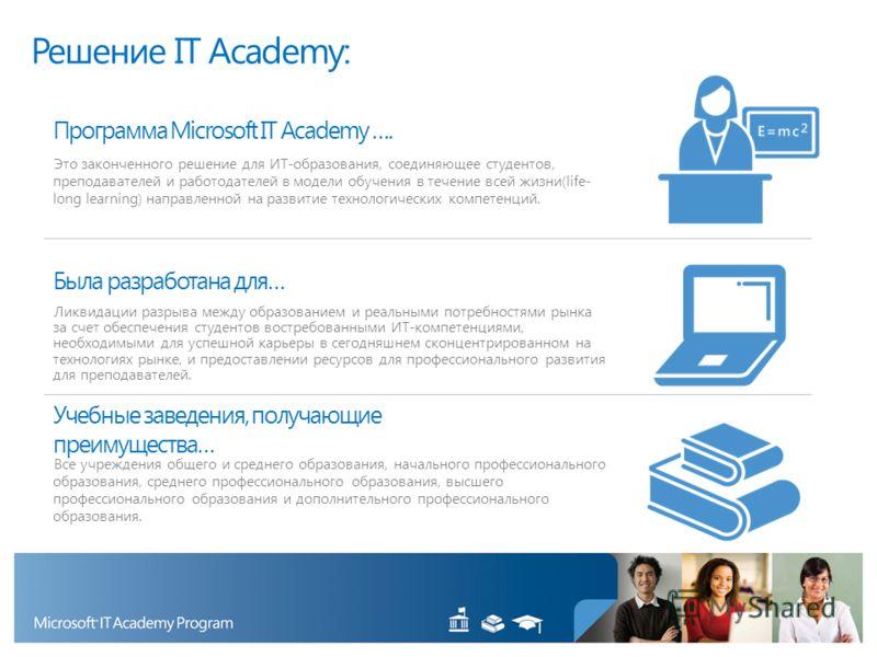 Программа Microsoft IT Academy …. Это законченного решение для ИТ-образования, соединяющее студентов, преподавателей и работодателей в модели обучения в течение всей жизни(life- long learning) направленной на развитие технологических компетенций. Был