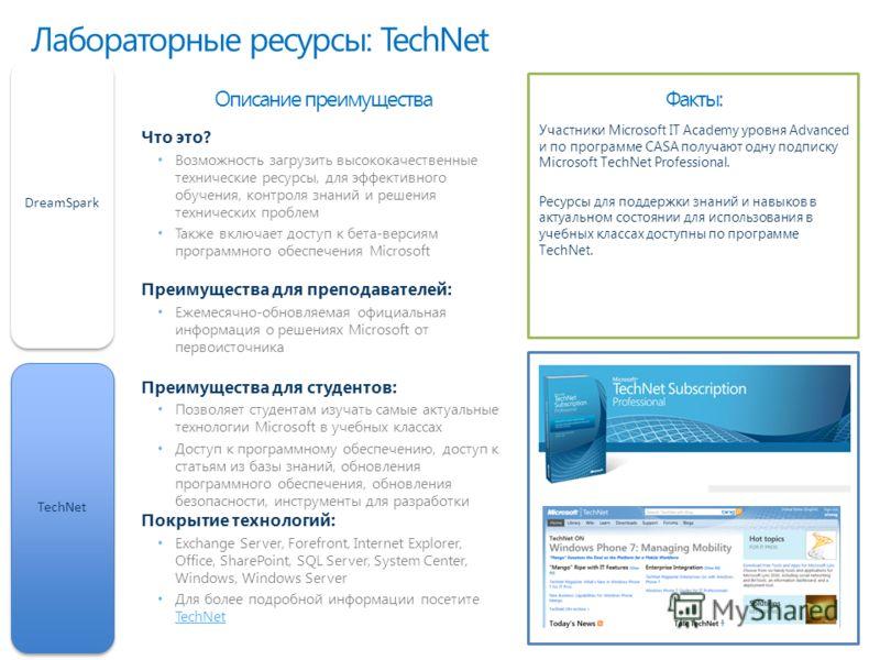 Лабораторные ресурсы: TechNet DreamSparkTechNet Факты:Описание преимущества Что это? Возможность загрузить высококачественные технические ресурсы, для эффективного обучения, контроля знаний и решения технических проблем Также включает доступ к бета-в