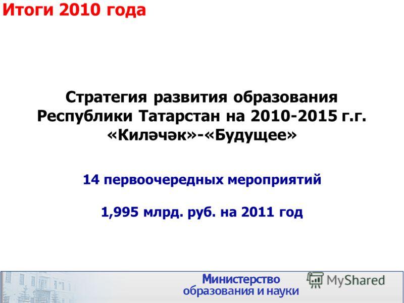 Стратегия развития образования Республики Татарстан на 2010-2015 г.г. «Киләчәк»-«Будущее» 12 14 первоочередных мероприятий 1,995 млрд. руб. на 2011 год Итоги 2010 года