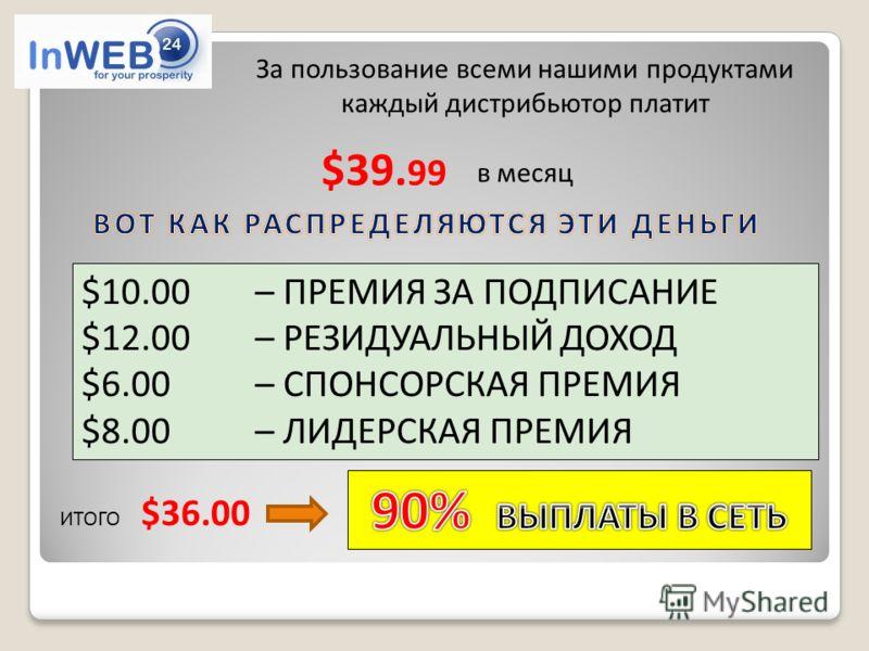 $39. 99 $10.00 – ПРЕМИЯ ЗА ПОДПИСАНИЕ $12.00 – РЕЗИДУАЛЬНЫЙ ДОХОД $6.00 – СПОНСОРСКАЯ ПРЕМИЯ $8.00– ЛИДЕРСКАЯ ПРЕМИЯ ИТОГО $36.00 За пользование всеми нашими продуктами каждый дистрибьютор платит в месяц