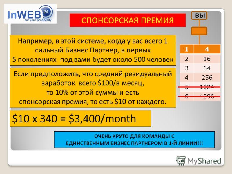 СПОНСОРСКАЯ ПРЕМИЯ вы $10 x 340 = $3,400/month ОЧЕНЬ КРУТО ДЛЯ КОМАНДЫ С ЕДИНСТВЕННЫМ БИЗНЕС ПАРТНЕРОМ В 1-Й ЛИНИИ!!! Если предположить, что средний резидуальный заработок всего $100/в месяц, то 10% от этой суммы и есть спонсорская премия, то есть $1