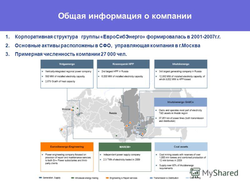 Общая информация о компании 1.Корпоративная структура группы «ЕвроСибЭнерго» формировалась в 2001-2007г.г. 2.Основные активы расположены в СФО, управляющая компания в г.Москва 3.Примерная численность компании 27 000 чел.