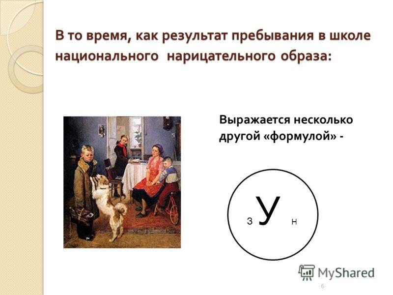5 Одним словом, результативность современной постсоветской школы моно представить примерно так : З У НЗ У Н Российская школа « выдает » ученика информированного, но мало что умеющего, « избегающего неопределенностей », наполняющих реальную жизнь ….