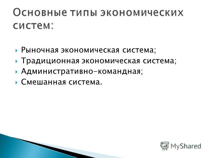 Рыночная экономическая система; Традиционная экономическая система; Административно-командная; Смешанная система.
