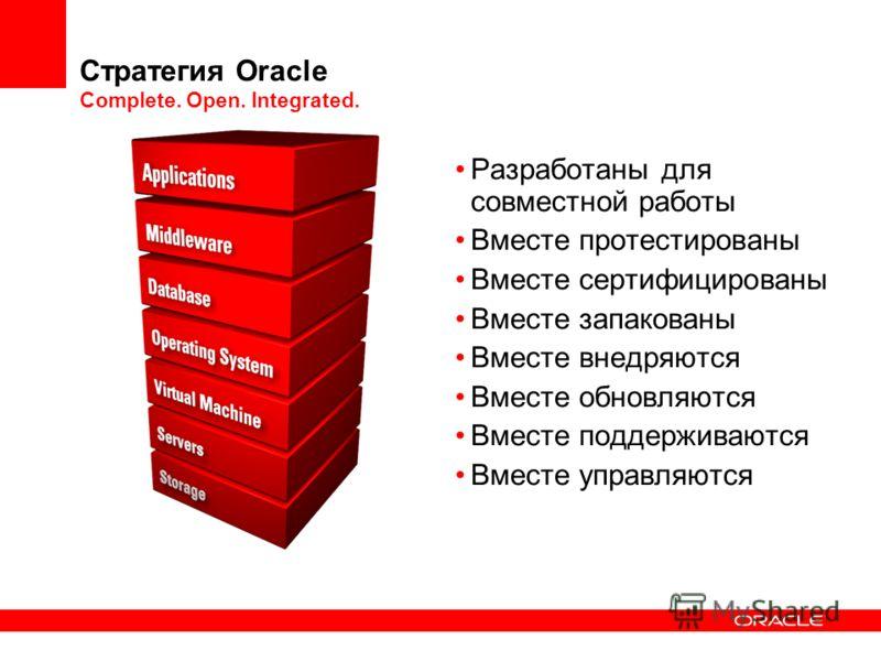 Стратегия Oracle Complete. Open. Integrated. Разработаны для совместной работы Вместе протестированы Вместе сертифицированы Вместе запакованы Вместе внедряются Вместе обновляются Вместе поддерживаются Вместе управляются